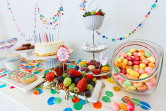 Dessert table at party Stock Image