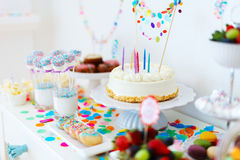 Dessert table at party Stock Images