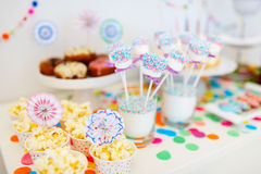 Dessert table at party Stock Photos
