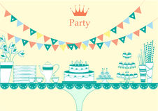Dessert table for a party, illustrations Royalty Free Stock Photo