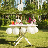 Dessert table for a party. Ombre cake, cupcakes, sweetness and f Royalty Free Stock Images