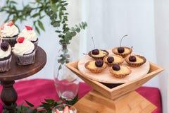 Dessert table in restaurant Stock Image
