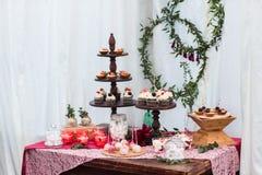 Dessert table in restaurant Stock Photography