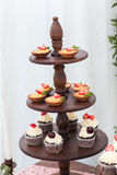 Dessert table in restaurant Royalty Free Stock Photo
