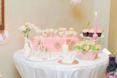 Dessert Table at Restaurant Stock Images