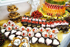 Dessert table at restaurant. Royalty Free Stock Images