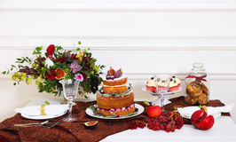 Dessert table serviced for a wedding Royalty Free Stock Images