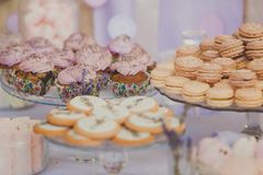 Dessert table for a wedding party. Biscuits Stock Photos