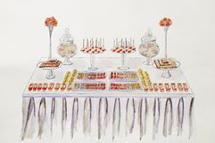 Dessert table for a wedding party. Hand drawing.Watercolor pictu Stock Image