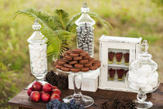 Dessert table for a wedding party royalty free stock photos
