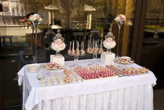 Dessert table for a wedding party. Dessert sweets table for a wedding party Stock Photo