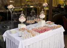 Dessert table for a wedding party Stock Images