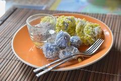 Dessert tailandese fatto dal fagiolo e dalla noce di cocco Fotografie Stock