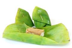 Dessert tailandese, riso appiccicoso con crema cotta a vapore Immagine Stock