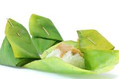 Dessert tailandese, riso appiccicoso con crema cotta a vapore Fotografia Stock