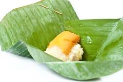 Dessert tailandese, riso appiccicoso con crema cotta a vapore Fotografie Stock Libere da Diritti