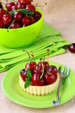 Dessert tart black cherry Royalty Free Stock Image