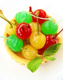 Dessert tartlet with  cocktail cherries Stock Photos