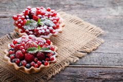 Dessert tartlets. With berries and powdered sugar on grey wooden table stock photos
