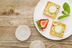 Dessert - tarts with strawberry Stock Photo