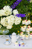 Dessert and tea table in a garden Royalty Free Stock Images