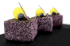 Dessert texturisé pourpre de fruit avec les myrtilles et la gelée de citron photos libres de droits