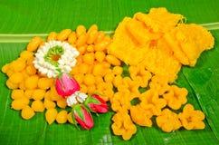 Dessert thaï, bonbons thaïs sur la lame Photographie stock