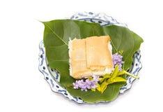 Dessert thaï, oeuf doux sur le premier riz collant Photographie stock libre de droits