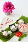 Dessert thaïlandais, gâteau de banane. Photographie stock libre de droits