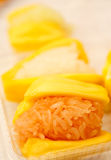 Dessert Thai style, glutinous rice in jackfruit Stock Image