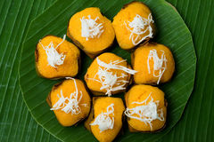 Dessert Thai sweet sugar palm cake with Coconut Royalty Free Stock Image