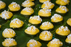 Dessert thai sweet sugar palm cake. With coconut Royalty Free Stock Photo