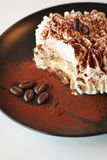 Dessert time creamy tiramisu cake. Really creamy tiramisu cake with coffee beans on top Royalty Free Stock Photos