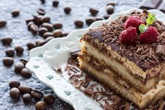 Dessert Tiramisu Cake with Grated Chocolate, Raspberry and Mint. Fine Tiramisu Cake Dessert with Grated Chocolate, Raspberry and Mint on Stone Background stock photography