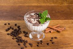 Dessert tiramisu with chocolate and mint in a bowl stock image