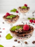 Dessert Tiramisu in glass goblet with mint coffee beans and fresh raspberries on white wooden table.  Stock Photos