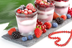 Dessert with topping of frozen berries stock photo