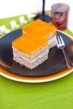 Dessert - torta di formaggio arancione Fotografie Stock Libere da Diritti