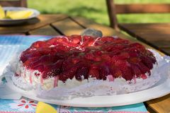 Dessert, Torte, Strawberry Pie, Whipped Cream Royalty Free Stock Images
