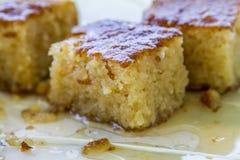Dessert tradizionale turco Revani Fotografie Stock Libere da Diritti