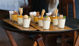 A Dessert Tray Sampler at a Restaurant in Lima Peru. A high end restaurant provides a sampling of its desserts for a food tour in Lima Peru stock photos