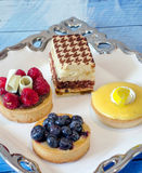 Dessert tray of special decedent tarts and cakes Royalty Free Stock Images
