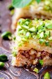 Dessert turco della pasticceria di phyllo e del dado, baklava Fotografia Stock Libera da Diritti