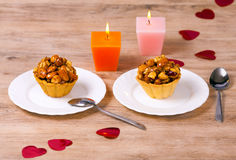 Dessert for two. Romantic dessert for two person and two candles stock image