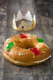 Dessert typique d'Espagnol de ` de Roscon de Reyes de ` d'épiphanie, Images libres de droits