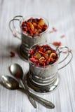 Dessert in una tazza con frutta secca Fotografia Stock Libera da Diritti