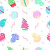 Dessert, van het het concepten naadloze patroon van het suiker de zoete voedsel abstracte rug royalty-vrije illustratie
