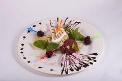 Dessert van roomijs met wafels, bessen, sorbet verfraaide munt Royalty-vrije Stock Fotografie