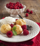 Dessert with Vanilla Ice Cream and Puff pastry filled with dairy cream Royalty Free Stock Image