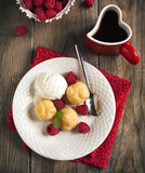 Dessert with Vanilla Ice Cream and Puff pastry filled with dairy Royalty Free Stock Images